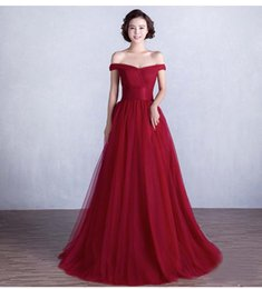 Wholesale Slim Elegant Formal Dress - SSYFashion Wine Red Long Evening Dress Sexy Off-the-shoulder Slim Bride Banquet Elegant Prom Dress Custom Plus Size Formal Dresses