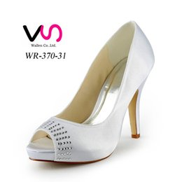 Wholesale Yellow Bridal Peep Toe Heels - 2015 Women Silver Custom big size wedding shoes crystals rhinestones bridal wedding Peep toe shoes Diamond Shoes Party Prom High Heels shoes