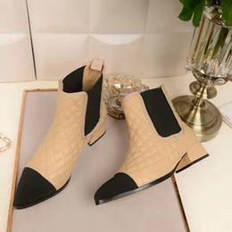 Wholesale Heels Caps - Letu27 Brand Winter Cap-toe Boots 3.5 CM Low Heel Plaid Genuine Leather Ankle Boots Women Shoes Boots Sz 35-39