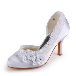 Wholesale Large Handmade Flowers - New Round Toe Wedding Dress Shoes 8cm Heel Nice Lace Pump Elegant Style Women Bridal Shoe Handmade Shoe for Wedding Large Small Size