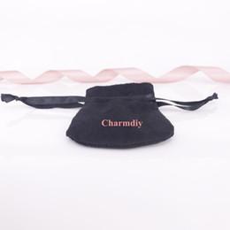 Wholesale Wholesale Velvet Jewelry Pouches - Black Ribbon Black Velvet Bags Fit For European Pandora Style Beads Charms and Bracelets Necklaces Jewelry Fashion Pendant Pouches