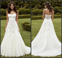 Wholesale Enzoani Lace - Ipswich A Line Wedding Dresses Enzoani 2016 Sweetheart Sleeveless OT Sequins Corded Lace Bridal Gowns Illusion Back Covered Pearl Cuttons
