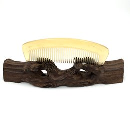 Wholesale Natural Horn Hair Comb - Wholesale-L-124 Natural Sheep Horn Boutique Comb Hair Care Accessories