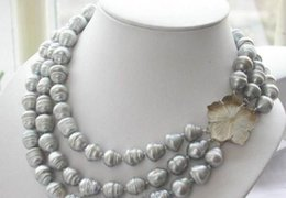 Wholesale Triple Strand Pearl Necklace 19 - NEW triple strands 11-13mm natural south sea gray baroque pearl necklace 17-19""