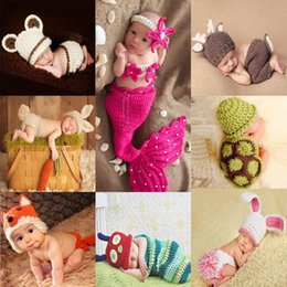 Wholesale Knitted Baby Animal Outfits - Newborn Cute Animals Crochet baby costume photography props knitting hat infant baby photo props new born baby girls outfits