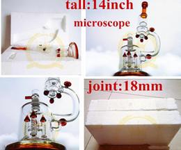 microscópio preto Desconto Cor 14 Polegadas Microscópio Direto Da Fábrica Vendedor Tubo de vidro preto bongo De Vidro cachimbo cachimbo de água bongo De Vidro