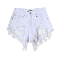 94655418853 Al por mayor-moda de algodón Hot Denim Shorts mujeres Sexy agujero blanco  Frayed Edges cintura alta pantalones vaqueros cortos 2017 bolsillos  ocasionales ...