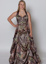Wholesale Military Art Prints - Printing Military Realtree Camo Prom Dresses 2016 Halter New Style Camouflage Gowns Red Picture Formal Evening Party Gowns
