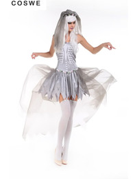 Wholesale Halloween Costumes For Zombies - Wholesale-Sexy Gothic Manor Zombie Wedding Corpse Costume Ghost Bride Lace Dress Adult Costume Halloween for Women Cosplay Zomy uniform