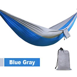 Wholesale Family Sale - Outdoor Camping Traveling 2 People Leisure Parachute Hammock Portable Nylon Parachute Hammock 4 Colors Hot Sale 2503038