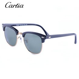 Wholesale Wholesale Classic - carfia driving Sunglasses for men 3016 Classic Fashion design sunglasses acetate plank glasses black 51mm sun glasses with free box