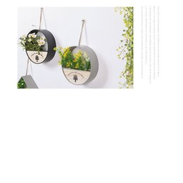 Wholesale Ceramic Wall Baskets - The American Home Furnishing soft decoration decoration creative wall pendant ornaments small flower basket pot room wall