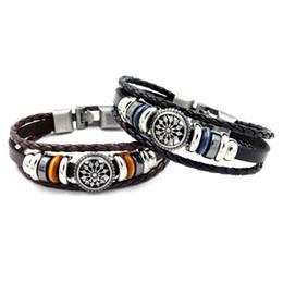 Wholesale Wholesale Ethnic Charms - Punk Turkish Hollow flower Bracelets for Women Men Wristband Cuff Leather Bracelet Ethnic Vintage Jewelry Bijouterie