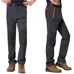 Wholesale Gore Tex Pants - Wholesale-5XL Mens Winter Fleece Windproof Pants Outdoor Sports Pants Climbing Hiking Camping Trekking Ski Hunting Male Trousers VA015