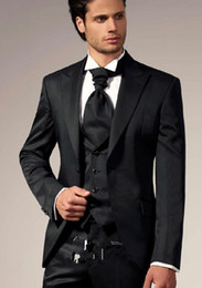 Wholesale Designer Tie Set - Customized 2015 Famous Designer Black Vintage Groom Tuxedos Slim Fit Party Suit bridegroom Suit Jacket+Pants+Tie+Vest a set free shipping