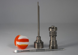 Wholesale Titanium Dabber Set - Factory Price Bongs Tool Set 10mm 14mm 18mm Male and Female Domeless Titanium Nail with Carb Cap Slicone Jar Dabber For Glass Bong