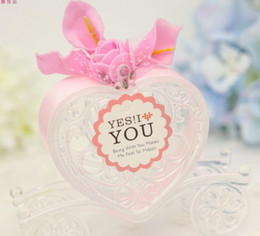 Wholesale Sweet Love Favor Box - Clear carriage candy box wedding Christmas birthday party transparent plastic love heart car sweets favor box with ribbon decor gift wrap