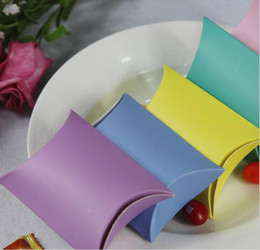 Wholesale Christmas Pillow Boxes - 250g paper cardboard solid color pillow paper box candy wedding favor box free shipping mix color pillow box
