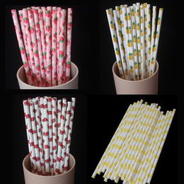Wholesale Disposable Party - 25pcs lot Fruit Strawberry Pineapple Paper Drinking Straws Drinking Tubes Party Supplies Creative Drinking Straws Wholesale