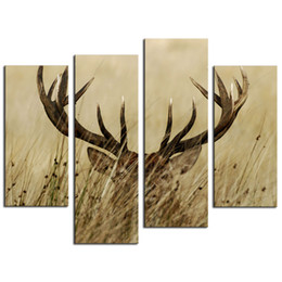 Wholesale Bush Paintings - 4 Pieces Canvas Painting Wall Art Deer Stag With Long Antler In The Bushes of Painting Prints On Canvas For Home Wall Decor