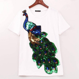 Wholesale Sequin Tees - 2018 Noble Elegant T shirt Women Peacock Sequined Sequins T-shirt Women Fashion New Top Tee Shirt Femmer Woman Sakura Clothes