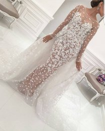Wholesale Guipure Lace Dresses - Yousef Aljasmi See Through Overskirt Wedding Dresses Guipure Lace Appliques Long Sleeve Bridal Dresses Vintage Detachable Train Wedding Gown