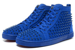 Wholesale Media Matters - New arrival mens womens matter leather with Spike Studded high top sneakers,designer causal flat sports shoes 36-46