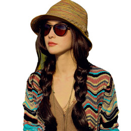 Wholesale Straw Hats For Girls - Wholesale-Hot New Fashion Women Ladies Summer Hats Girls Casual Floppy Straw Sun Hat Striped Caps Bohemia Beach Hats For Women Cheap Z1