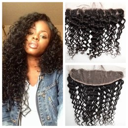 Wholesale Indian Hair Lace Frontal - Deep Wave Lace Frontal Closure Bleached Knots Swiss Lace From Ear To Ear Malaysian Deep Curly Human Hair G-EASY