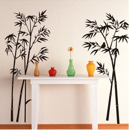 Wholesale Wall Stickers Bamboo Black - Large Removable Living room bedroom TV backdrop Black Bamboo Mural Decal Wall Stickers 120CM*110CM