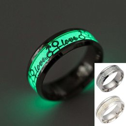 Wholesale Ring Fluorescent Light - Love Ring Stainless Steel Fluorescent Glowing Light Finger Rings Band Glow In The Dark Gold Silver Pattern Rings Men Women Jewelry 080252