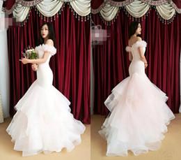 Wholesale Mermaid Feather Wedding Dresses - Bateau Feather Tulle Mermaid Lace Up Pink Romantic Sheath Floor Length Sexy Wedding Dresses Wedding Gown Custom Made
