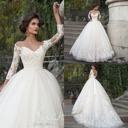 Wholesale Da Sposa - Elegant Arabic Wedding Dresses Turkey Vestidos de Noivas 2017 Lace Bride Dress Princess Wedding Gowns 3 4 Sleeves Abiti Da Sposa Vestidos