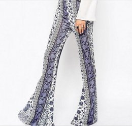 Wholesale Cheapest Blue Trousers - Cheapest Trousers Fashionalble Tight Package Hip Blue Blue And White Porcelain Printed Large Flared Trousers As The Pict