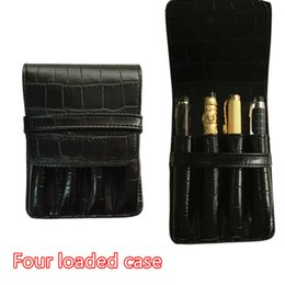 Wholesale Office Fountain - Wholesale-HIGH QUALITY LUXURY Crocodile Skin exquisite carving AND FOUNTAIN PENS CASE HOLDER FOR 4 PEN