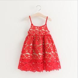 Wholesale Tutu Dresses For Girls Korean - Girls Princess Dress for Kids Clothes 2016 Summer Embroidery Lace Tutu Dress Korean Fashion Cotton Flowers Girls Party Dress