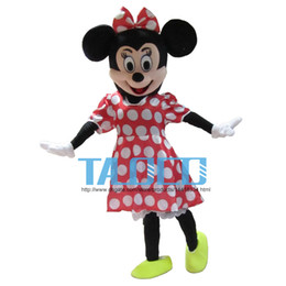 Wholesale Dress Eva - Hot Sale! Red Minnie Mouse mascot costume, Adult Size Fancy Dress Holloween Costume,EPE Head + Free shipping