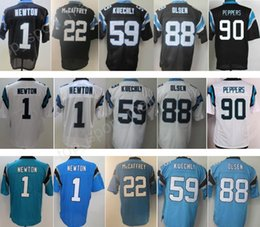 Wholesale Newton White - Newest Men 1 Cam Newton Jersey Black Blue White 22 Christian McCaffrey 59 Luke Kuechly 88 Greg Olsen 90 Julius Peppers Jerseys Man Hot Sale