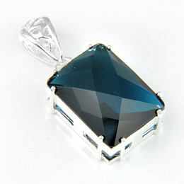 Wholesale Blue Topaz Stones - Free Shipping Delicate colors 925 Silver Fire London Blue Topaz jewelry crystal stone Fashion pendants for necklaces p0859