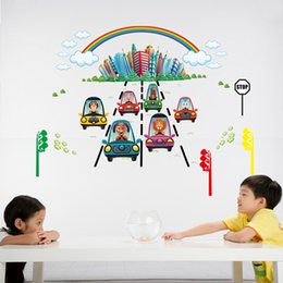 Wholesale Rainbow Wall Stickers Kids - The City under Rainbow Wall Decal Sticker Cartoon Animals Car Coming from the Rainbow Wall Mural Poster Kids Room Nursery Wall Decor Graphic