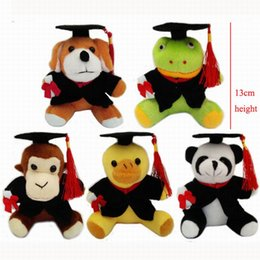 Wholesale Christmas Stuffed Panda Bear - Stuffed Animals Graduation Panda Dog Frog Duck Monkey 13cm Em Plush Toy With Hat and Book Formatura Doctor Panda Soft Dolls 20pcs lot