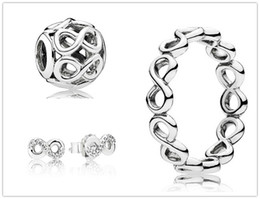 Wholesale Infinite Earrings - 925 Sterling Silver Ring & Earrings and Jewelry Charms Pendant Sets with Box Fits European Jewelry Bracelets & Necklaces- Infinite Shine Set