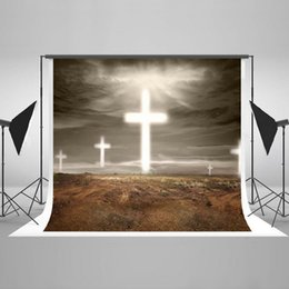 Wholesale Photography Backdrop Indoor - Kate backdrop 7x5ft christmas backdr Wilderness Cross Figure Indoor Photography Cloth Foldable Washable Cotton photography backdrops HJ03541