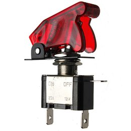 Wholesale Red Toggle Switch - 12V 20A Motorcycle Car Modification Switch Red Illuminated LED Toggle Switch Control ON OFF+Aircraft Missile Style Flip Up Cover order<$18no