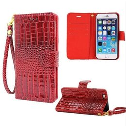 Wholesale Hand Wallet For Mobile - Hand Strap Wallet Case For iphone 5 5S 6 6PLUS Flip Cover Luxury Crocodile Grain Leather Pouch Case For Apple IPhone SE Mobile Phone Bag