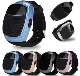 Wholesale Bluetooth Handsfree Watch - B90 Mini Watch Style Bluetooth Speakers Wireless Subwoofers Speaker Handsfree LED Display Screen TF FM USB VS DZ09 U8 BT808L A1 Smart Watch