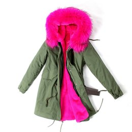 Wholesale Women S Long Snow Coat - Wholesale-Russian women's winter high quality army green pink fox fur collar Parkas Wadded Coat Thick rabbit fur Padded snow outerwear