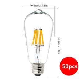 Wholesale Transparent Filament - Dimmable 2700K 4W 6W 8W 110V 220V Vintage LED Edison Filament Bulb E27 Led Bulb Transparent Glass Led Bulb replacement Incandescent Light