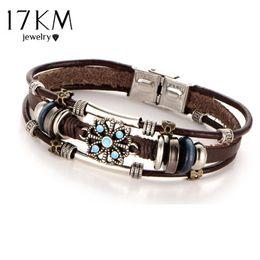 Wholesale Multiple Chain Bracelet - 17KM 2 Style Vintage Flower Bracelets & Bangle Boho Multiple Layers Leather Bracelet Handmade Female Punk Jewelry for Women Man