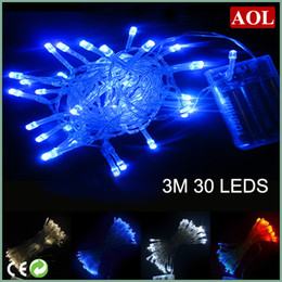 Wholesale String Lightings - Christmas party battery LED string lights 30leds 3M led string lightings new arrival battery operated 4 colors choose